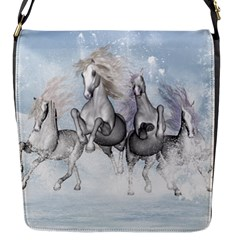 Awesome Running Horses In The Snow Flap Messenger Bag (s) by FantasyWorld7
