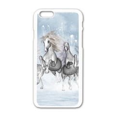 Awesome Running Horses In The Snow Apple Iphone 6/6s White Enamel Case by FantasyWorld7
