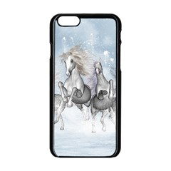 Awesome Running Horses In The Snow Apple Iphone 6/6s Black Enamel Case by FantasyWorld7