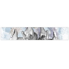 Awesome Running Horses In The Snow Flano Scarf (large) by FantasyWorld7