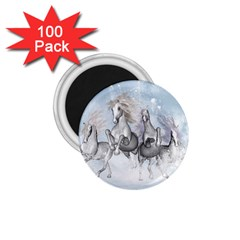 Awesome Running Horses In The Snow 1 75  Magnets (100 Pack)  by FantasyWorld7