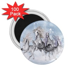 Awesome Running Horses In The Snow 2 25  Magnets (100 Pack)  by FantasyWorld7