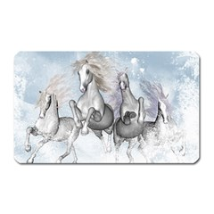 Awesome Running Horses In The Snow Magnet (rectangular) by FantasyWorld7
