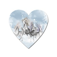 Awesome Running Horses In The Snow Heart Magnet by FantasyWorld7