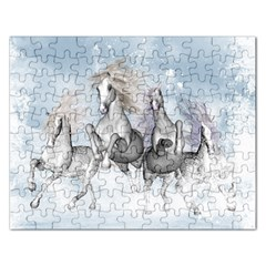Awesome Running Horses In The Snow Rectangular Jigsaw Puzzl by FantasyWorld7