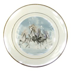 Awesome Running Horses In The Snow Porcelain Plates by FantasyWorld7