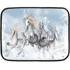 Awesome Running Horses In The Snow Double Sided Fleece Blanket (mini)  by FantasyWorld7