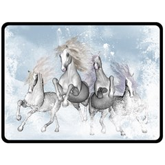 Awesome Running Horses In The Snow Fleece Blanket (large)  by FantasyWorld7