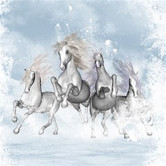 Awesome Running Horses In The Snow Magic Photo Cubes by FantasyWorld7