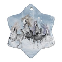 Awesome Running Horses In The Snow Ornament (snowflake) by FantasyWorld7
