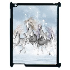 Awesome Running Horses In The Snow Apple Ipad 2 Case (black) by FantasyWorld7