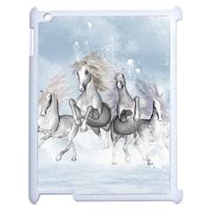 Awesome Running Horses In The Snow Apple Ipad 2 Case (white)