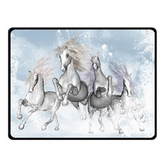 Awesome Running Horses In The Snow Double Sided Fleece Blanket (small)  by FantasyWorld7