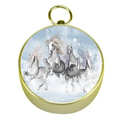 Awesome Running Horses In The Snow Gold Compasses by FantasyWorld7
