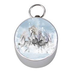 Awesome Running Horses In The Snow Mini Silver Compasses by FantasyWorld7