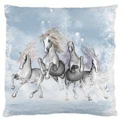 Awesome Running Horses In The Snow Standard Flano Cushion Case (two Sides) by FantasyWorld7