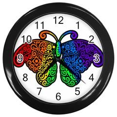 Rainbow Butterfly  Wall Clocks (black) by Valentinaart