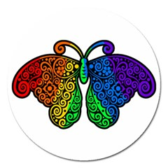 Rainbow Butterfly  Magnet 5  (round) by Valentinaart