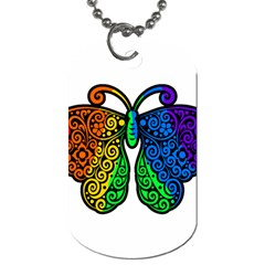 Rainbow Butterfly  Dog Tag (two Sides) by Valentinaart