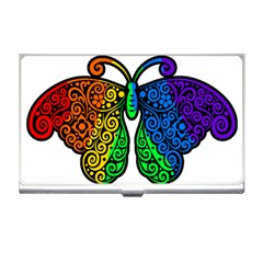 Rainbow Butterfly  Business Card Holders by Valentinaart