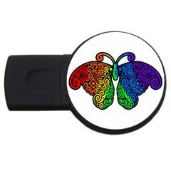 Rainbow Butterfly  Usb Flash Drive Round (2 Gb) by Valentinaart