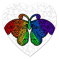 Rainbow Butterfly  Jigsaw Puzzle (heart) by Valentinaart