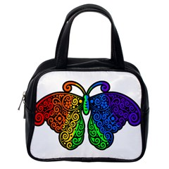 Rainbow Butterfly  Classic Handbags (one Side) by Valentinaart