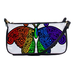 Rainbow Butterfly  Shoulder Clutch Bags by Valentinaart