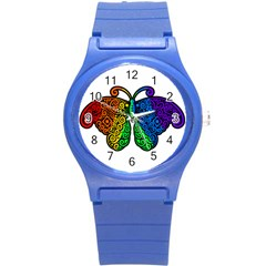 Rainbow Butterfly  Round Plastic Sport Watch (s) by Valentinaart