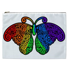 Rainbow Butterfly  Cosmetic Bag (xxl)  by Valentinaart