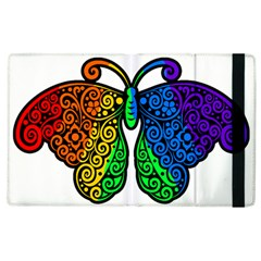 Rainbow Butterfly  Apple Ipad 2 Flip Case by Valentinaart