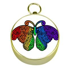 Rainbow Butterfly  Gold Compasses by Valentinaart