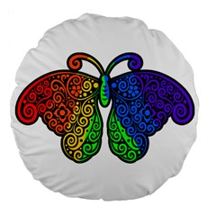 Rainbow Butterfly  Large 18  Premium Flano Round Cushions by Valentinaart