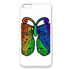 Rainbow Butterfly  Apple Iphone 6 Plus/6s Plus Enamel White Case by Valentinaart
