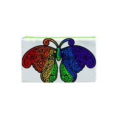 Rainbow Butterfly  Cosmetic Bag (xs) by Valentinaart