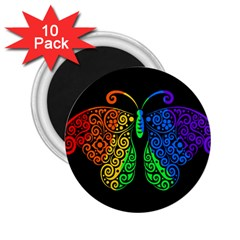 Rainbow Butterfly  2 25  Magnets (10 Pack)  by Valentinaart
