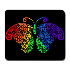 Rainbow Butterfly  Large Mousepads by Valentinaart