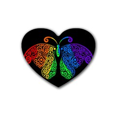 Rainbow Butterfly  Heart Coaster (4 Pack)  by Valentinaart