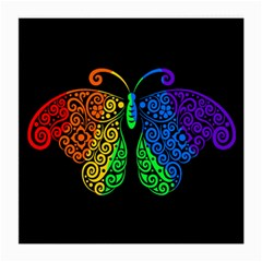 Rainbow Butterfly  Medium Glasses Cloth (2 Side) by Valentinaart