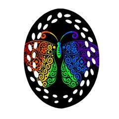 Rainbow Butterfly  Oval Filigree Ornament (two Sides) by Valentinaart