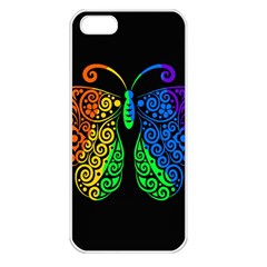 Rainbow Butterfly  Apple Iphone 5 Seamless Case (white) by Valentinaart