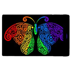 Rainbow Butterfly  Apple Ipad 3/4 Flip Case by Valentinaart