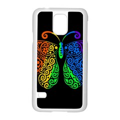 Rainbow Butterfly  Samsung Galaxy S5 Case (white) by Valentinaart