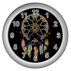 Dreamcatcher  Wall Clocks (silver)  by Valentinaart