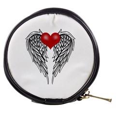 Angel Heart Tattoo Mini Makeup Bags by Valentinaart