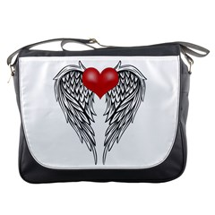 Angel Heart Tattoo Messenger Bags by Valentinaart