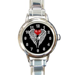 Angel Heart Tattoo Round Italian Charm Watch by Valentinaart