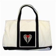 Angel Heart Tattoo Two Tone Tote Bag by Valentinaart