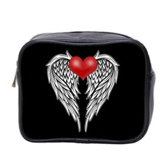 Angel Heart Tattoo Mini Toiletries Bag 2 Side by Valentinaart