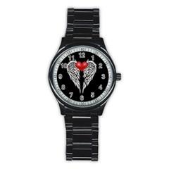 Angel Heart Tattoo Stainless Steel Round Watch by Valentinaart